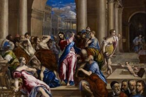 "Tableau de El Greco ""Christ Driving the Money Changers from the Temple"""